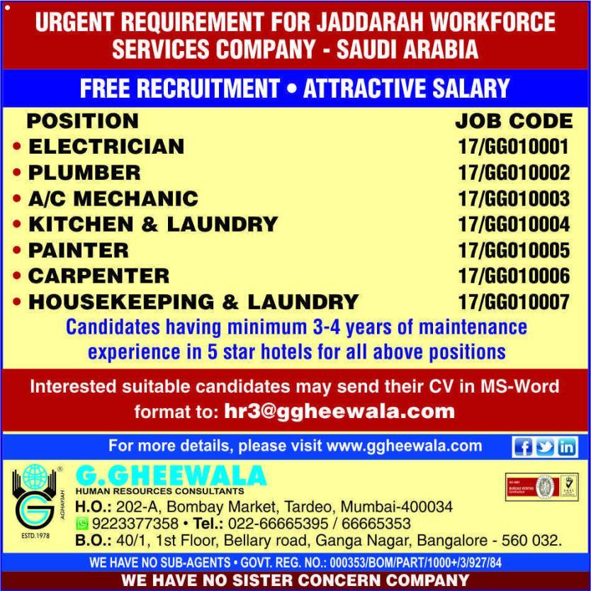 Latest Job Openings in Saudi Arabia   SUVIDHAJOBS - Global