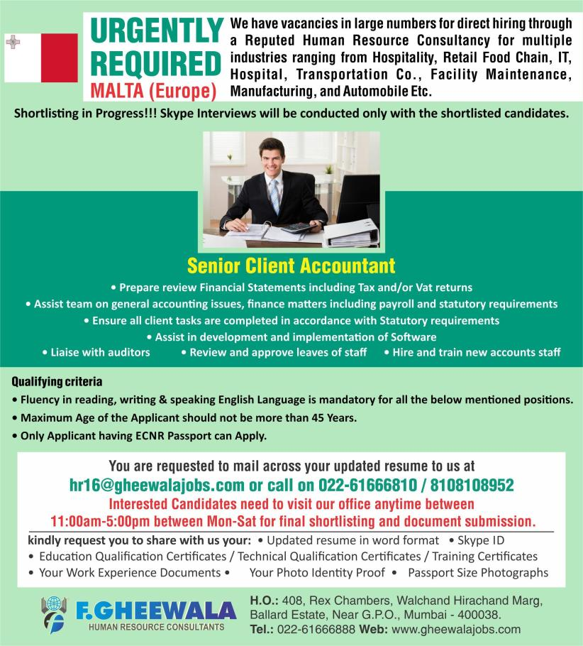 Openings with Gheewala | SUVIDHAJOBS - Global Engineering Recruiter